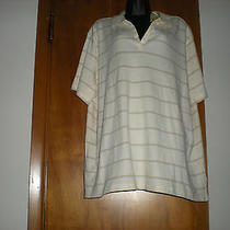 Nwt - Classic Elements Cream & Beige Polo Style Top - Size 24/26w Photo