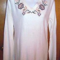 Nwt Classic Elements Embroidered Ivory Sweater Medium Photo