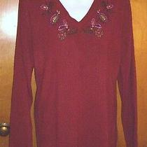 Nwt Classic Elements Embroidered Red Sweater Md Photo