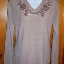 Nwt Classic Elements Embroidered Tan Sweater Medium Photo