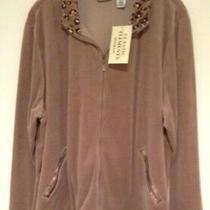 Nwt Classic Elements Leopard Print Trim Brown Fleece Jacket Size 20/22 Photo