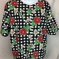 Nwt Classic Elements Top Blouse Xl Blk Floral Scoop Neck Button Short Sleeve Photo