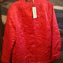 Nwt Classic Elements Women's Size L (14-16) Red Satin Quilted Jacket Photo