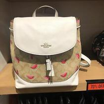 Nwt Coach 1602 Elle Backpack in Signature Canvas With Watermelon Print Photo