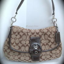 Nwt Coach 17093 Soho Signature Flap Bag - Khaki / Mahogany Photo