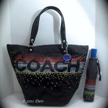 Nwt Coach 17144 61255 Coach Rhinestone Black Tote & Umbrella Set Photo