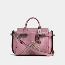 Nwt Coach 1941 Double Swagger Colorblock Quilting Rivets Dusty Rose Pink 995 Photo
