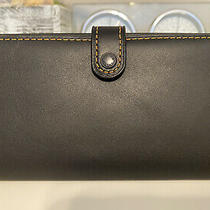 Nwt Coach 1941 Slim Trifold Wallet Glovetanned Leather Black 57197 Photo