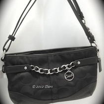 Nwt Coach 19724 Signature East West Chain Duffle - Sv / Black / Black Photo