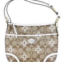 Nwt Coach 20808 Peyton Signature Khaki Tan White Clover Canvas Large Hobo 298  Photo