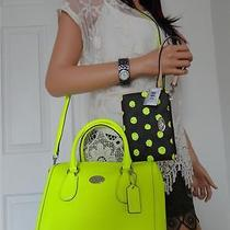 Nwt Coach 34697 Bennett Neon Satchel Coach 52581 Dot Neon Yellow Wristlet Rare Photo