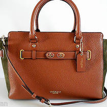 Nwt Coach 35932 Saddle/surplus (Olive) Suede Mix Carryall Gift Rec't Included Photo