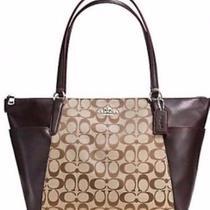 Nwt Coach 37231 Ava Ii Tote in Signature Handbag Khaki/mahogany  Photo