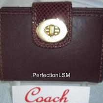 Nwt Coach 43608  Leather Turnlock- Mahogany Brown With Snake Skin Accents  Photo