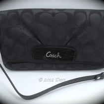 Nwt Coach 47013 Signature Sateen Large Flap Wristlet - Sv / Black Gray / Black Photo