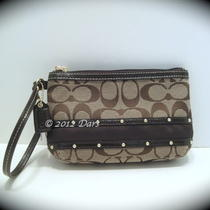 Nwt Coach 48114 Studded Sateen Stripe Medium Wristlet -B4/khaki/mahogany Photo