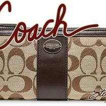 Nwt Coach 48437 Legacy Signature Slim Envelope Wallet Khaki / Mahogany Photo