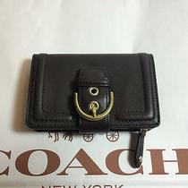 Nwt Coach 50090 Campbell Leather Buckle Medium Wallet B4/mahogany Photo
