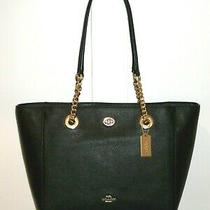 Nwt Coach 57107 Black Pebble Leather Turnlock Chain Tote 27 Purse and Dust Bag  Photo