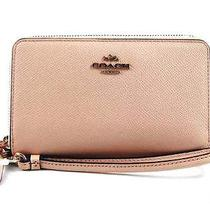 Nwt Coach 63112 Double Zip Wallet Wrislet Texture Leather Blush Iphone 6 Shp Int Photo
