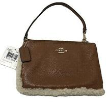Nwt Coach 64709 Tan Pebble Leather Shearling Trim Medium Wristlet Msrp 95 Photo