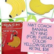 Nwt Coach 69543 Yellow Bananas Key Fob Chain Ring Large Free Shipping Rare Photo