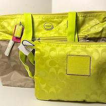 Nwt Coach 77560 Signature Nylon Packable Weekender Tote Bag Lt Khaki/citrine Set Photo