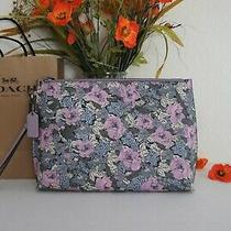 Nwt Coach 89543 Bc Ht Floral Chl Large Pouch With Wristlet Lilac Multi 175 Photo