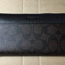 Nwt Coach Accordion Signature Zipper Wallet F75000 Mahogany/brown Photo