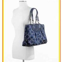 Nwt Coach Ashley Gathered Dotted Carryall Navy Blue F20056 Msrp 398.00 Photo
