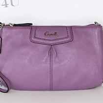 Nwt Coach Ashley Leather Large Wristlet Purse F48103 Purple Photo
