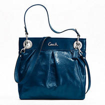 Nwt Coach Ashley Patent Leather Hippie Purse Handbag Cobalt F17953 Photo