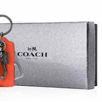Nwt Coach Authentic Bottle Opener Leather Key Ring - Orange With Gift Box Photo