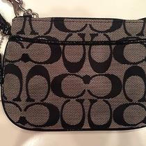 Nwt Coach  Beautiful Classic Black and Gray  Signature C Small Wristlet Photo