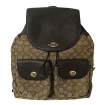 Nwt Coach Billie Large Signature Backpack Khaki Brown Jacquard F30275 375 Photo