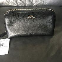 Nwt Coach Black Crossgrain Leather Cosmetic Case F53386 Photo