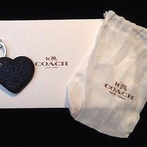 Nwt Coach Black Glitter Heart Charm Fob Key Ring 64352 Gift Wrap/receipt 50.00 Photo