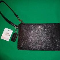 Nwt Coach Black Glitter Small Wristlet Formal Dress Handbag  Photo