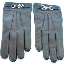 Nwt Coach Black Leather Cashmere Lining Dogleash Signature Cuff Gloves Sz 8  Photo