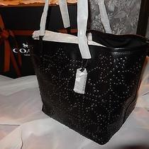 Nwt Coach Black Leather Mini Studded Lg Street Tote Handbag 35163 750 Nipgift Photo
