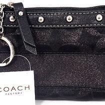 Nwt Coach Black Lurex Evening Bag Mini Ring Key Chain Stud F 42013 Change Coin Photo