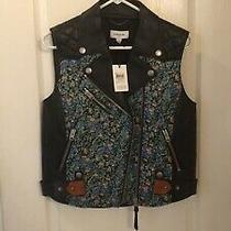 Nwt Coach Black Multi Floral Flower Quilted Leather Biker Vest 86650 Sz M 1695 Photo