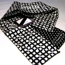 Nwt Coach Black Optic Art Signature Dot Silk Ponytail Scarf Photo