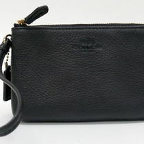 Nwt Coach Black Pebbled Leather Double Corner Zip Wristlet Purse 95 F66505 Photo