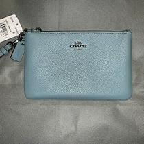 Nwt Coach Blossom Marine Polished Pebbled Leather Wristlet Wallet 22952 Photo