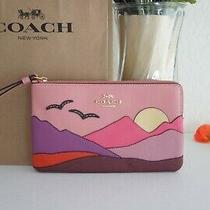 Nwt Coach C4559 Corner Zip Wristlet Bag Blush Pink With Multi Mountain Postcard  Photo