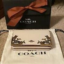 Nwt Coach Callie Leather Foldover Chain Clutch With Metal Tea Rose Chalk 24909 Photo
