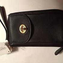 Nwt Coach Campbell Black Leather Universal Zip Wallet F50070 Msrp 148 Photo