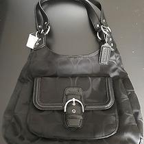 Nwt Coach Campbell Black Signature Hobo Purse Handbag F24742 Photo