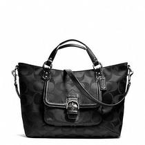 Nwt Coach Campbell Black Signature Izzy Fashion Satchel Bag Purse Photo